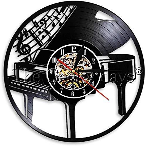 NMDD Play The Piano Vinyl Record Reloj de Pared Decoración Vintage Reloj de Pared Músico Reloj de Tiempo Arte de Pared Regalo para Pianista