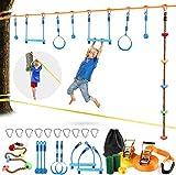 Odoland 50ft Slackline Ninja line Monkey Bar Kit for Obstacle Course Setting, Slackline Kit with Arm Trainer Line, Tree Protectors, Instruction Booklet, Carry Bag and Work Gloves for Backyard