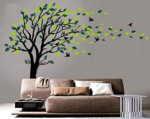 Large Dark and Green Tree Blowing in the Wind Tree Wall Decals Wall Sticker Vinyl Art Kids Rooms Teen Girls Boys Wallpaper Murals Sticker Wall Stickers Nursery Decor Nursery Decals