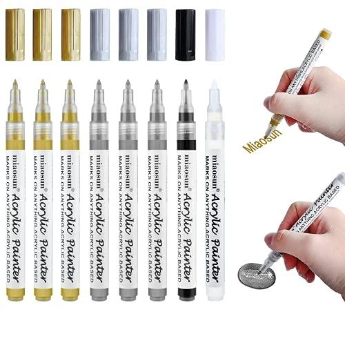Acrylstifte Gold Silber Schwarz Weiß, 0,7mm Wasserfest Marker Stifte Steine Bemalen Stifte für Steine Keramik Holz Metall Papier Glas Stoffe Kunststoff Leder DIY- 8 Pack