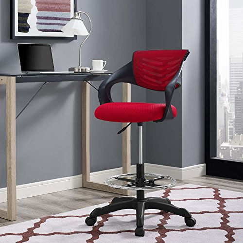 Modway Thrive Drafting Chair - Tall Office Chair for Adjustable Standing Desks in Red