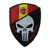 Parche punisher Emblema Bandera de España Loyalty duty Honor Bravery Hook and loop 9,5 x 6.5 cm | Muy Adherentes | Patch Stickers Para Decorar Tu Ropa | Fáciles de Poner