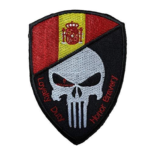 Gemelolandia   Aufnäher Punisher Emblem Spanien Loyalty Duty Honor Bravery Hook and Loop 6 x 4,5 cm   Originelle Geschenke   Aufnäher, Manschettenknöpfe, Schlüsselanhänger und Mehr