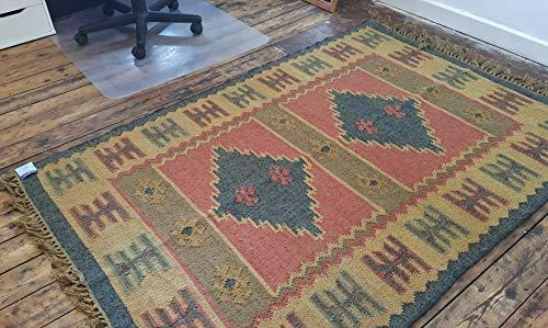 Rugsite Kelim Wollteppich, handgeknüpft, mit Jute-Teppich, 120 x 180 cm, Anthrazit / Rosa / Beige