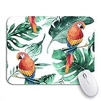 ROSECNY 可愛いマウスパッド 熱帯の葉の水彩パターン密なジャングルとオウムの滑り止めゴムバッキングノートブックマウスマット用コンピューターのマウスパッド