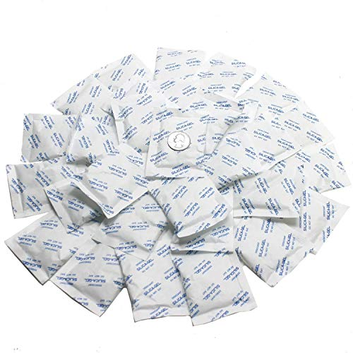 """5 Gram Pack of 50 """"Dry & Dry"""" Premium Pure & Safe Silica Gel Packets Desiccant Dehumidifiers - Food Safe Rechargeable Paper"""