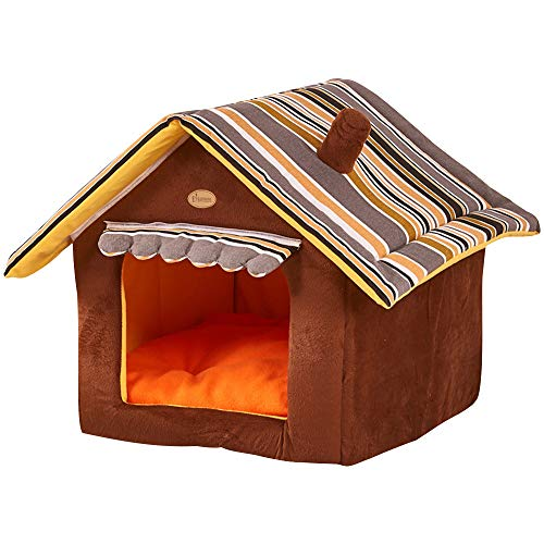 GBlife Casa para Mascotas Desmontable Cama para Perro Pequeño y Gatos Mascota Antideslizante Plegable Suave Calentar con Cojín Extraíble Cama Creativas (M, Café)