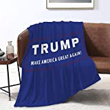 NiYoung Novelty Throw Blanket Softest Blanket Throws Lightweight Trump Make America Great Again Red Blue Throw Blanket for Home, Sofa, Office, Camping, Chair