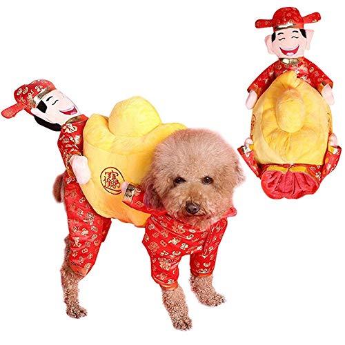 Etophigh huisdier kostuum de god van de rijkdom stijl hond kleding goudmunt, honden katten Cosplay Nieuwjaar kleding pak, Medium, rood