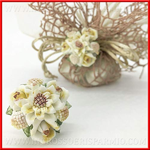 Ingrosso e Risparmio 12 Applicazioni a Forma di Bouquet di Fiori Modello capodimonte per bomboniere, portaconfetti Matrimonio, Comunione (Senza confezionamento)