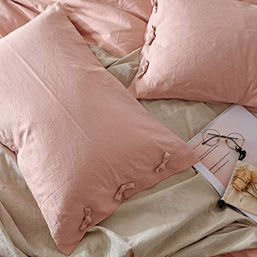 2pcs LCZMQRCLMZRQ 48x74cm effen kleur katoenen linnen kussensloop met strik kussensloop huwelijkscadeau luxe kussensloop, 2PCS roze kleur, 48cm x 74cm