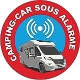 [Lot de 4] Hirondelle Bleue Autocollant Sticker Dissuasif 'Camping car sous alarme',pour camping car (Pilot...