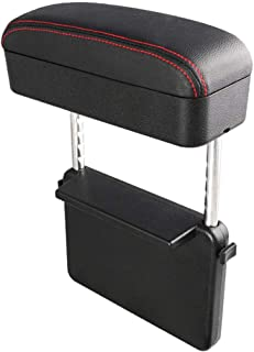Iycorish Car Seat Refit Armrest Box Storage Box Seat Storage Box Center Control Armrest Box Elbow Bracket, Black + Red Line