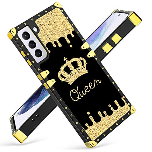 Fiyart Samsung Galaxy S21 5G Case Luxury Square Shockproof Stylish Retro Cover for S21 6.2 INCH 2021 (Gold Queen)