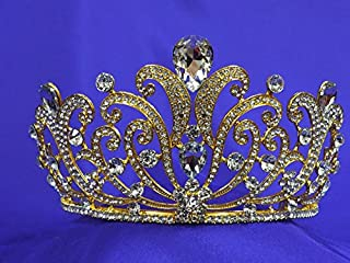 Gold Pageant Rhinestone Crystal Tiara Homecoming P189
