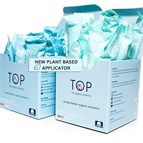 Regular amp Super Organic Cotton Tampons w/Plant Based Applicator Comfort amp Feel of Plastic by: TOP the Organic Project | Unscented Dye amp Chemical Free Safe Thin amp Superior Protection 30 Count