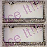 PLASTILINUM by 2X Swarovski Crystal License Plate Frame 5 Rows Large Crystal Black Steel Frame Cool car Tuning Accessories