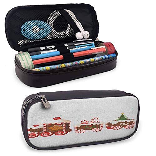 Weihnachten weiches Leder Bleistift Stift Fall Beutel Halter Beutel Zug mit Lebkuchen Creme Candy Cartoon Spielzeug Schneeflocken präsentiert Halter Box Organizer Geschenke