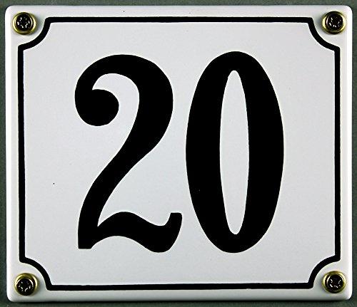 Emaille Hausnummernschild - Wählen Sie Ihre Nummer - Zahlen 1 bis 30 verfügbar - weiß/schwarz 12x12 cm und 12x14cm - sofort lieferbar! Hausnummer Schild wetterfest und lichtecht (20 weiß/schwarz 12x14cm)