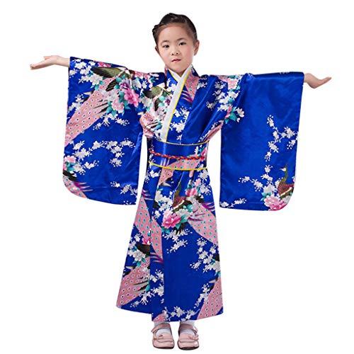 Andouy Frauen/Mädchen Kirschblüten Anime Cosplay Kostüm Japanischen Kimono Robe Kleid Kleidung(150.Blau)