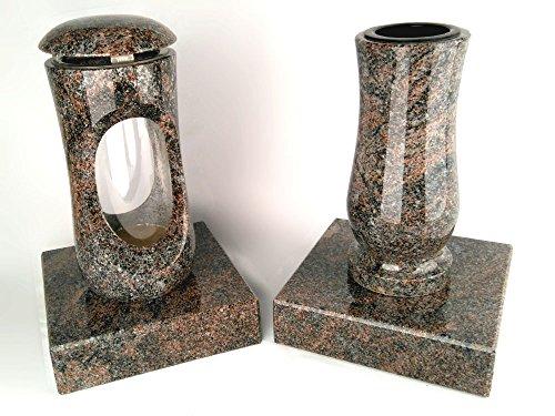 designgrab Design Small Lampe tombale avec vase et 2 pièces Socle en granite Paradiso, pierre tombale Set
