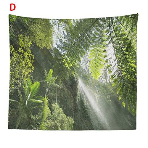Xmiral Tapisserie Sonnenlicht Wald Pflanze Druck Plane Polyester Gobelin Teppich Tuch 150x200cm Tagesdecke Hochzeitsfeier Picnic Beach Sheet(X)