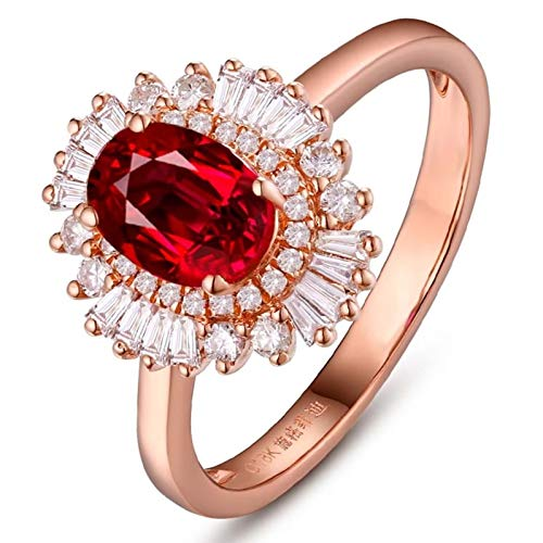 Ubestlove 18 Carat Gold Engagement Rings 90Th Birthday Gifts For Women Oval Women Ring 1.1Ct J 1/2