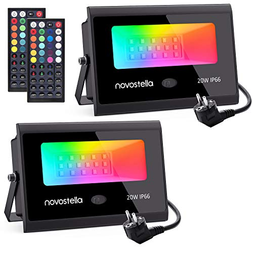 Novostella RGB LED Flutlicht 20W, 20 Farben 6 Modi mit 44-Tasten-Fernbedienung, Farbe Flutlicht Gartenbeleuchtung IP66 Wasserdicht für Baumabend Bar Party, 2er Set