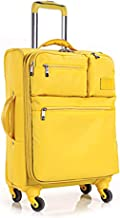 BFZJ suitcases 20 Inchs/24 Inches/28 Inches Expandable Spinner Suitcase,Universal Wheel Luggage Soft Box Oxford Cloth Student Pull Box Trolley Case (Color : Yellow, Size : 24 inch)