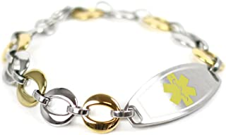 My Identity Doctor - Custom Medical ID Bracelet with Engraving, 1.5cm Gold Tone Steel Links - Made in USA