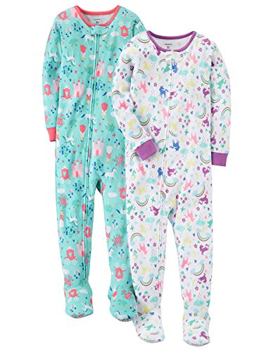 Carter's Baby Girls' 2-Pack Cotton Pajamas, Unicorn/Nap Queen, 12 Months
