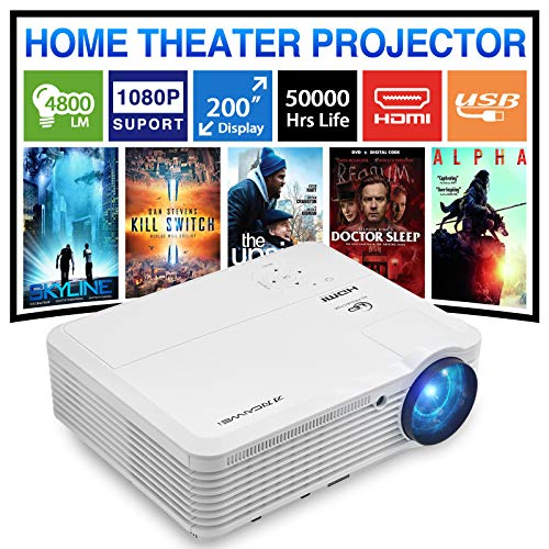 4800 Lumen Video Projector Full HD 1080P Supported, Home Theater Outdoor Movie LCD LED Projector with 200