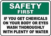 警告サイン-体に化学物質が付着した場合。 通行の危険性屋外防水および防錆金属錫サイン