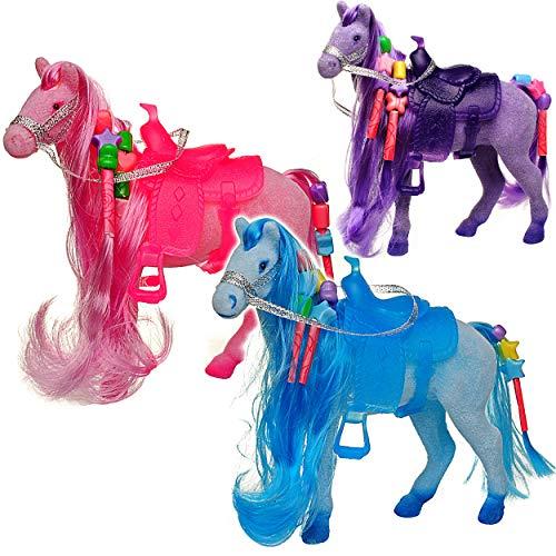 alles-meine.de GmbH kleines Pferd - bunt - 14 cm hoch - mit Harren, Perlen zum Flechten + abnehmbaren Sattel - Plastikpferd - klein - ideal auch für Spielzeug Puppen / Pferde BEF..