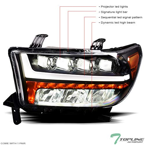 Topline Autopart Black Housing Full LED Sequential Quad Projector Headlights Signal Amber Reflector nb For 07-13 Toyota Tundra / 08-17 Sequoia