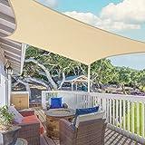 SUNLAX Patio Shade Sail, 8'x12' Sand Rectangle Sail Heavy Duty Shade Cloth UV Block Cover Solar Shades for Outside Yard