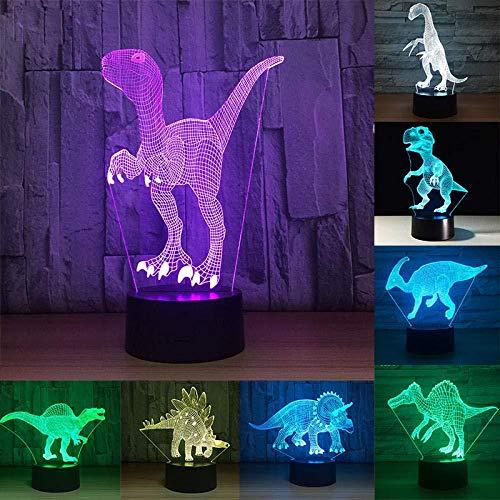 luz de noche para niños lamparas 3d Disaur Eve Halloween, Acción de Gracias, Navidad Los mejores regalos Carga USB táctil de 7 colores