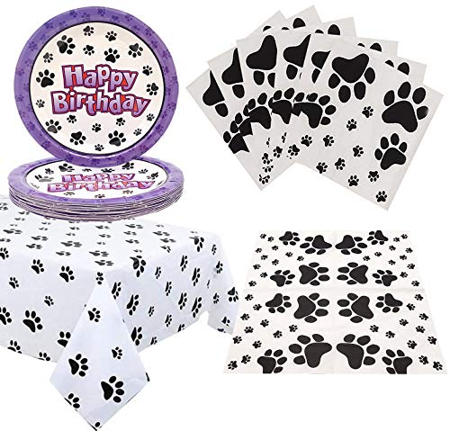 Puppy Themed Birthday Party Decorations - Paw Patrol Party Supplies Puppy Paw Print Plastic Tablecloth Cake Plates,Napkins and Tablecloth Children's Birthday Party Decorations for Boys Girls 20 Guest