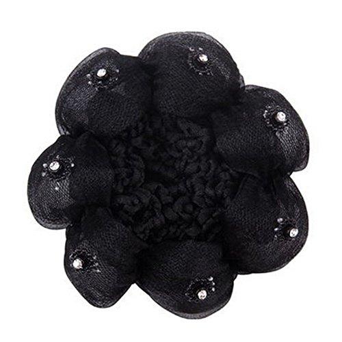 4Pcs Ladies Mesh élastique Bun Couverture Cheveux Nets Cheveux Snood, Noir