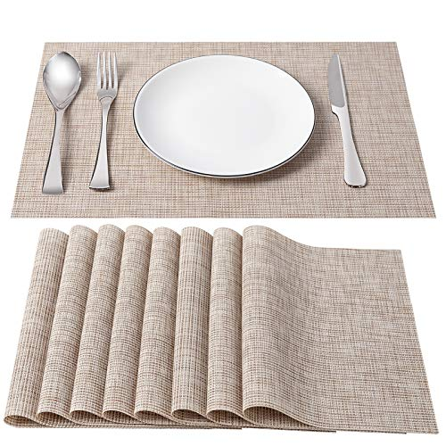 SD SENDAY Placemats, Set of 8 Heat-Resistant Stain Resistant Non-Slip Placemats for Kitchen Table, Washable Durable PVC Table Mats Woven Vinyl Placemats (8PCS, Beige)