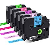 Colorty Compatible Label Tape Replacement for Brother P Touch Label Maker Tape TZe 12mm 0.47 Inch Laminated Label (Pastel Purple/Blue/Pink, White on Berry Pink/Lime Green) for P-touch PT-D210 H110, 8m