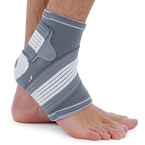 Ankle Support Brace (Pair) - Adjustable Foot Compression Sleeve Strap Socks | for Arthritis, Achilles Tendonitis, Sprained Heel Lift, Ligament Damage, Arch Supports | Sports Running for Men Women - L