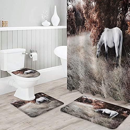 MQWEMJ Cortinas de Ducha, Caballo Animal de la Jungla Blanca roja180×200 cm con alfombras Antideslizantes, Tapa de Inodoro y Alfombrilla de baño, Cortina de Ducha con 12 Ganchos, Tela Impermea