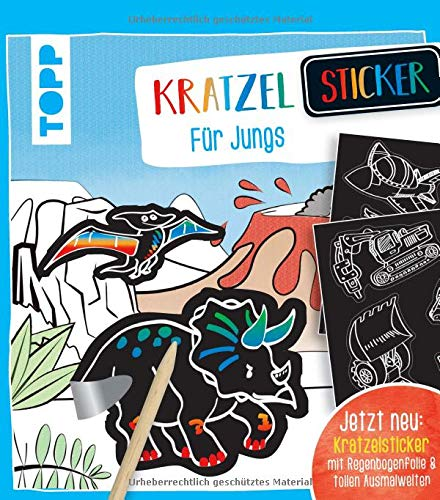 Kratzel-Stickerbuch für Jungs: Kratzelbuch mit über 60 Stickern zum Kratzeln, 20 Ausmalseiten und Holz-Kratzstift.