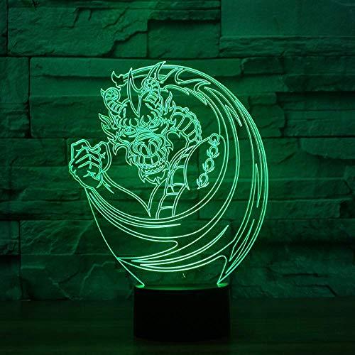 3D-lichtstrips, tekening, draak, tafellamp, led, creatief, nachtlampje, decoratie, thuis, 7 kleuren, kleurverandering, kinderen, cadeau voor vakantie.