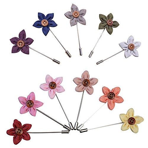 Soleebee YM003 Ansteckblumen Gemischt zufällig Herren Handgefertigt Revers Pin Blume Set im Knopfloch Schläger Revers Krawatte Brosche Blume Boutonniere für Anzug Hochzeit Partei (zufällig 9 Stück)