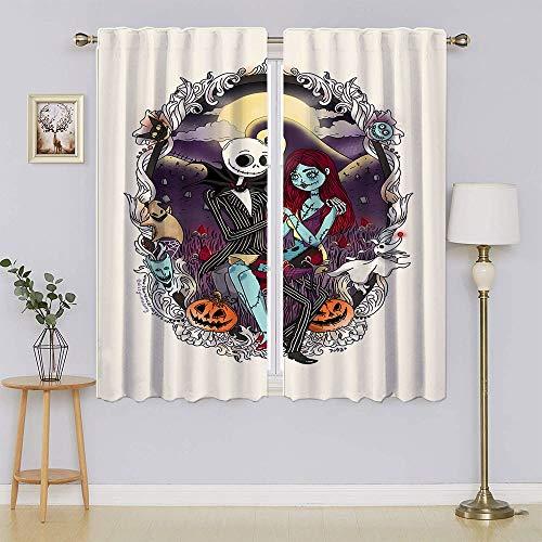 Cortinas opacas The Nightmare Before Christmas con filtro de luz, cortinas de privacidad para el pasillo de 42 x 54 pulgadas