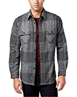 Club Room Mens Flannel Fleece Shirt Jacket Gray M