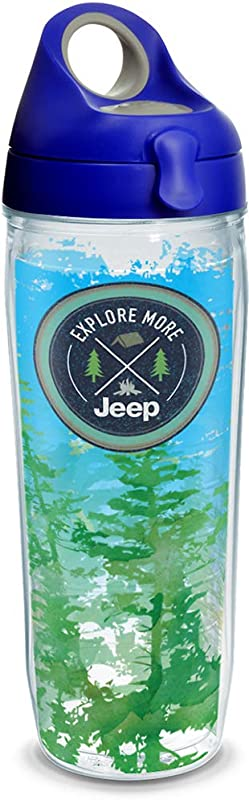 Tervis 1303495 Jeep Brand Explore More Insulated Tumbler With Wrap And Blue With Gray Lid 24oz Water Bottle Clear