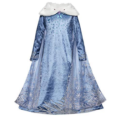 Morran Disfraz De Elsa, Vestido De Princesa Elsa, Vestido De Copo De Nieve De Encaje Fino,para Cumpleaños, Fiesta De Navidad De Halloween